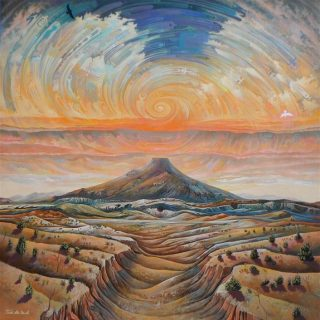 A Painting Of A Mountain